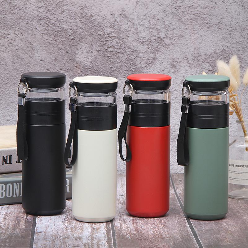 Горячая Изолированные бутылки воды из нержавеющей стали чай бутылка с Infuser Портативных вакуумной воды Чай бутылкой с веревкой