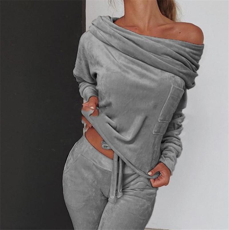 Felpa Donna 2 pezzi set Tuta autunno una spalla Felpa ansima gli insiemi di sport di usura Tuta donne Velvet Lounge Suit