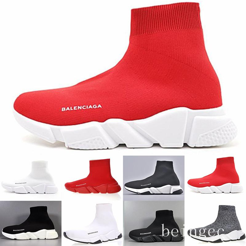 Balenciaga  Cheap Designer Speed Trainer casual Shoes black white red glitter Flat Fashion Socks Boots Sneakers fashion Trainers Runner SIZE36-46 HJU5N