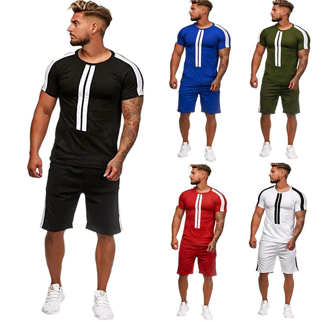 Verão Mens Set Streetwear rápida Gym seco Esporte Indoor Outdoor short t + Pants Stripe impresso Homens Conjuntos