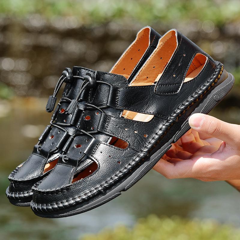 2020 nuevos hombres de la sandalia de moda de verano de lujo del cuero genuino Ocio Playa zapatos de alta calidad para hombre Sandalias Sandalias Calzado 38-44