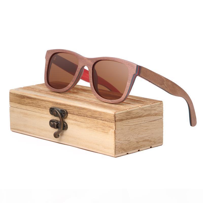 TOP marrón de madera hecho a mano gafas de sol gafas de sol de madera natural monopatín mujeres de los hombres de madera gafas de sol polarizadas