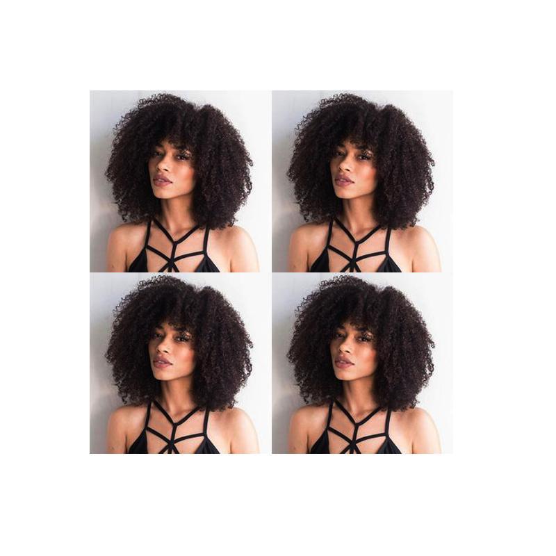 indio suave de las nuevas mujeres afroamericano pelo corto rizado afro rizado bob peluca llena del pelo humano peluca rizada de simulación negro con flequillo