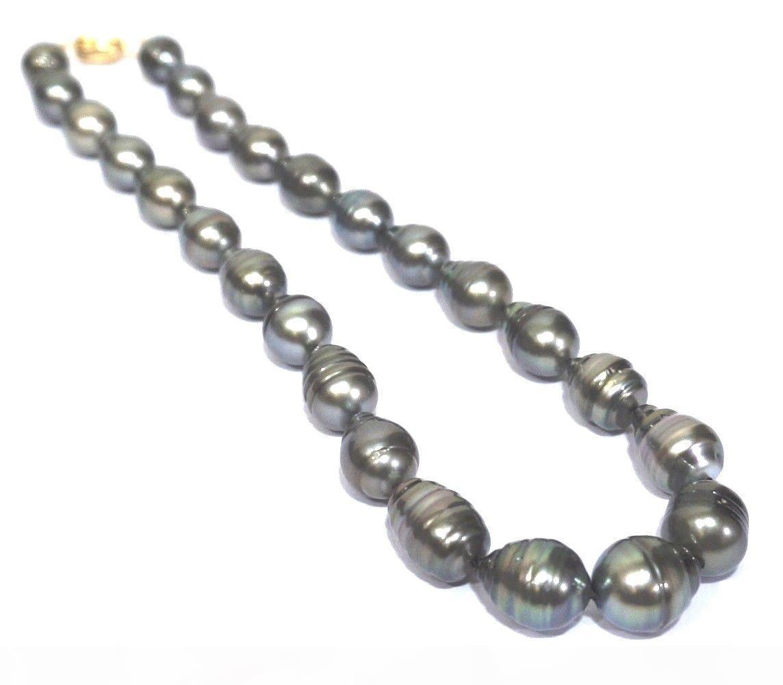 "Énorme paon naturel noir de Tahiti Perles Sud Mer 11-13mm 18"" Collier"