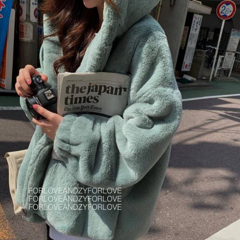 2020 моды искусственного меха Пальто зимы женщин вскользь с капюшоном Тонкий с длинным рукавом искусственного меха Зимняя куртка Женщины Casaco Feminino