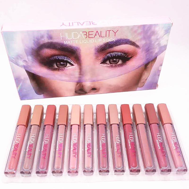 Hud @ -beauty 12pcs opaco Liquid Liquid rossetto Set Impermeabile Lip Gloss Lipgloss Nutriente Rouge A Levre Maquillage Kit
