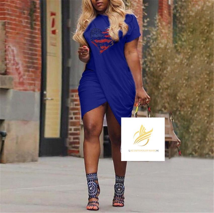 뜨거운 판매 사랑 womens 여름 드레스 크로스 디자이너 반팔 캔디 컬러 캐주얼 드레스 플러스 사이즈 5XL 여성 디자이너 드레스