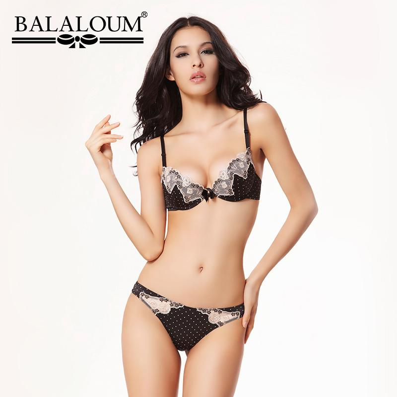 BALALOUM Sexy Women Bowknot Polka Dot Flower Lace Bra Panty Sets Brassiere Push Up Underwear Lingerie Set Seamless T Back Thongs Y200708