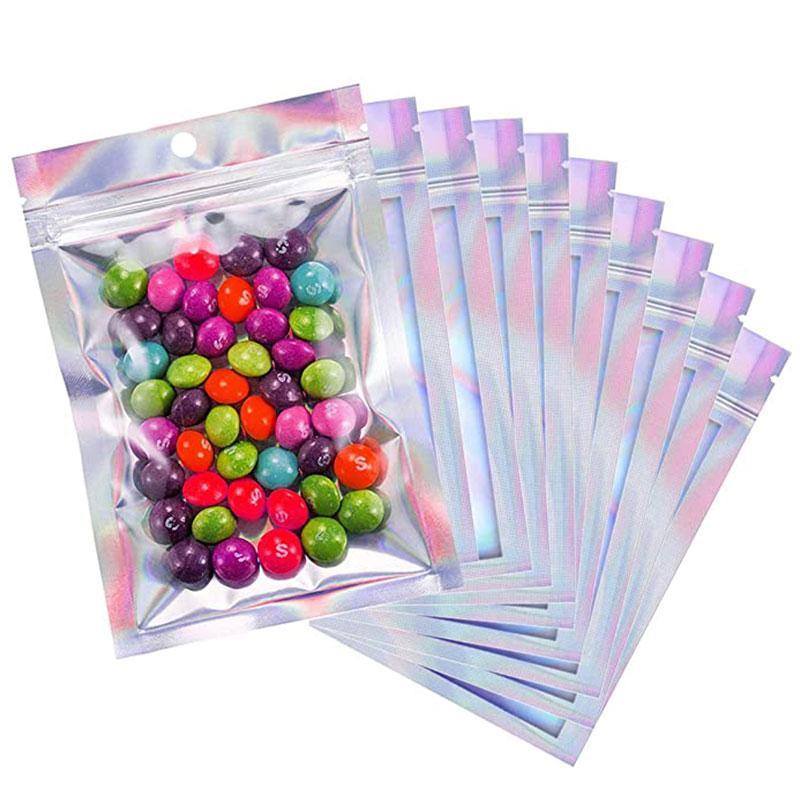 Dropshipping wiederveralable Mylar-Taschen Holographische Farbe Multiple Größengeruche Beutel Taschen Klarer Reißverschluss Food Candy Storage Packing Taschen D0503