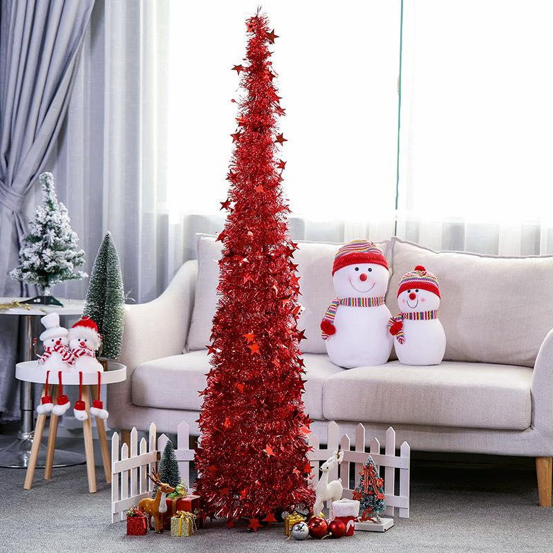 4.5ft/3.9ft Home Standing Decoration Colorful Artificial Foldable Christmas Tree Party Xmas Door For New Year DIY Decor