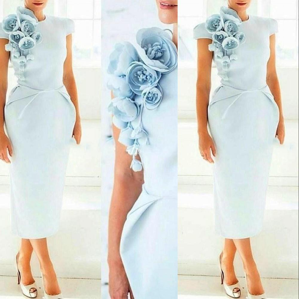 Vintage Light Sky Blue Mermaid Mother Of The Bride Dresses Satin Jewel Cap Sleeves Hand Made Flowers Tea Length Wedding Guest Evening Gowns