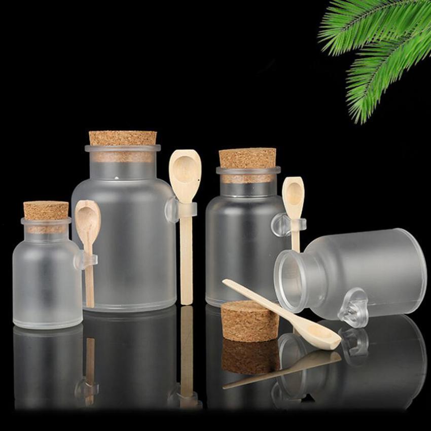 Frosted Plastic cosmetici bottiglie contenitori con tappo in sughero Cap e cucchiaio Bath Salt Mask Powder Cream Bottiglie di imballaggio trucco bagagli Vasi DHB625