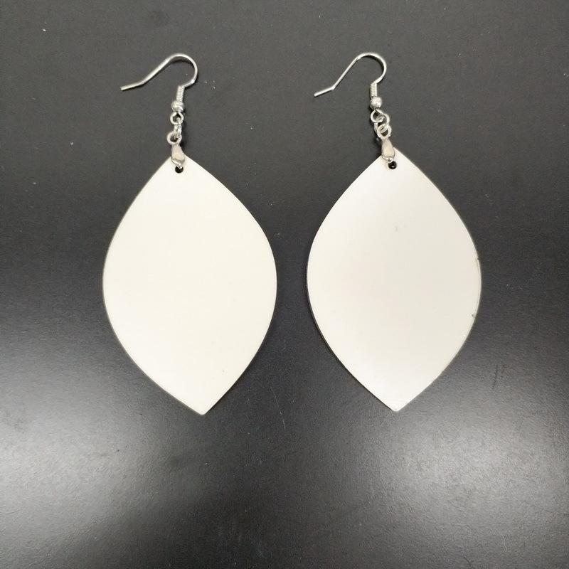 sublimation blank Earrings Double-sided sublimation earring leaves shape eardrop with DIY earring the best gift free shipping