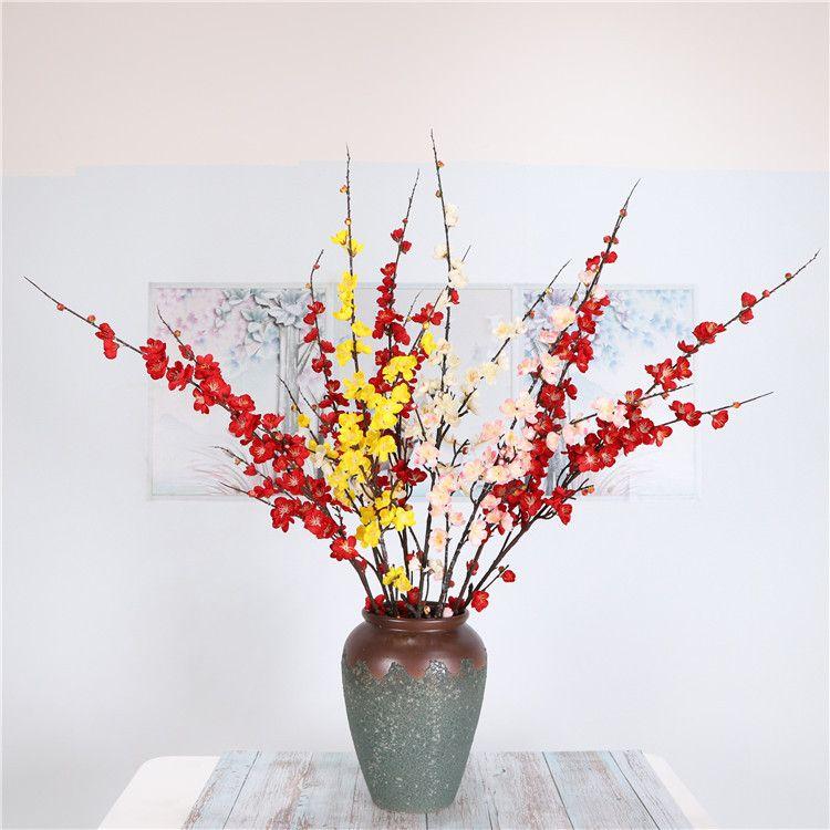 all'ingrosso Casa e matrimonio visualizzazione artificiale fiore decorativo prugna fiore corona di seta di simulazione fiore di ciliegio ramo falso prugna