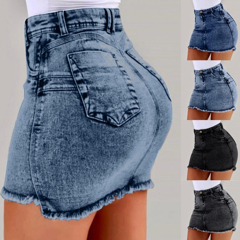 Alta Donne Vita mini denim gonne a matita solido tasca sottile jeans femminili Gonna 2020 di modo di estate sexy Abbigliamento T200712