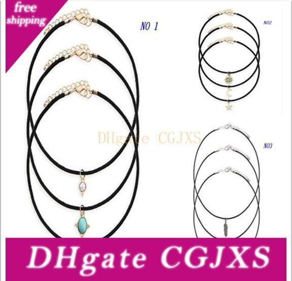 Nueva cadena de cuero 3pcs de aleación de estrella de la luna Sol y la Luna Turquesa Gargantillas Collares Mujeres Maxi collares Declaración de regalos HZ
