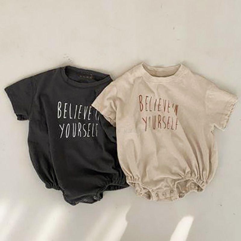 ropa de bebé ropa para bebés niñas Corea carta de impresión infantiles mono de los muchachos del niño de una sola pieza