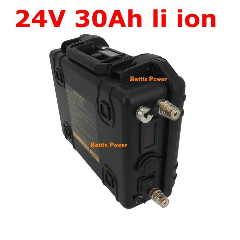 USB bağlantı noktalarıyla su geçirmez Lityum 24V 30AH Li iyon Tekerlekli Cruiser Açık endüstriyel ekipman + 5A şarj için durum ABS
