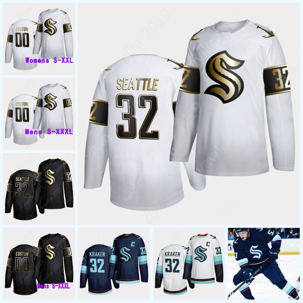 Seattle Kraken oro 32ª edición de los jerseys 2021 Custom Home carretera Equipo Hombres Mujeres Jóvenes blanco Jersey Negro 100% bordado cosido