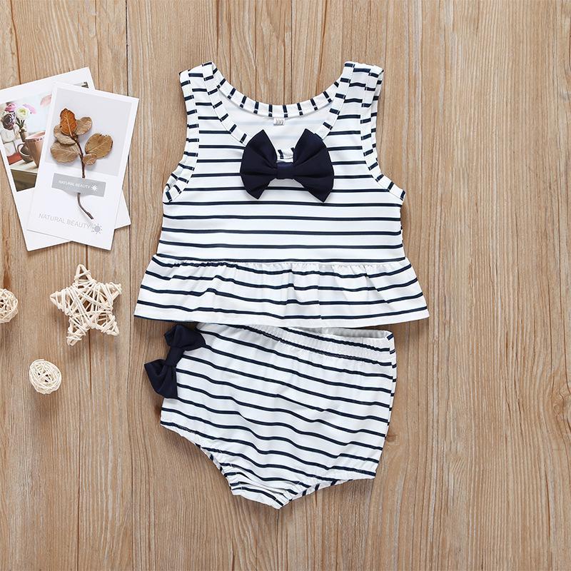 2020 الدعاوى طفل اثنين من قطعة الطفل مخطط أسود وردي أصفر القوس ملابس السباحة طفل الدعاوى Gilrs التجاعيد عناصر بيكيني شاطئ الاستحمام