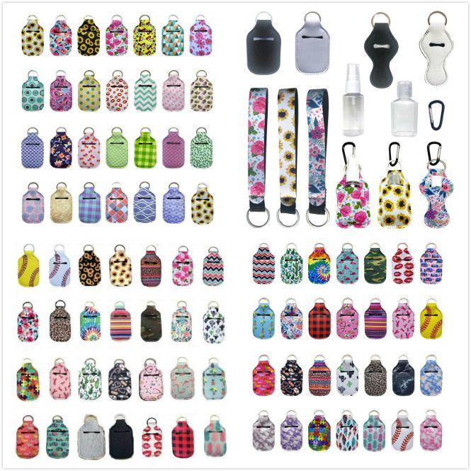 163 Stili Personalizza neoprene Hand Sanitizer Bottle Holder Keychain Borse 30ml Hand Sanitizer Bottle Holder Chapstick Con Portachiavi Baseball