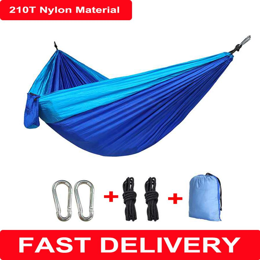 210T Nylon Material Hammock High Quality Durable Safety Adult For Indoor Outdoor Hanging Sleeping Removable Soft Camping Hammock Bed