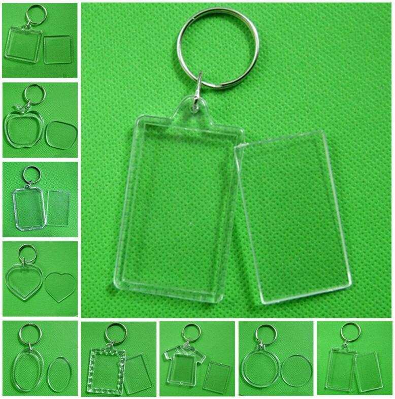 사진 프레임 키 체인 투명 아크릴 플라스틱 빈 열쇠 고리 삽입 여권 사진 프레임 키 체인 사진 액자 열쇠 고리 파티 선물 DHA450