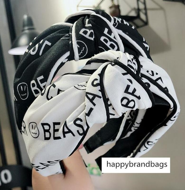 Carta Negras / Branco Não-deslizamento Headwear atado Hoop Ampla Hairpin alça 2 cores Bandanas Cabelo Acessórios Atacado