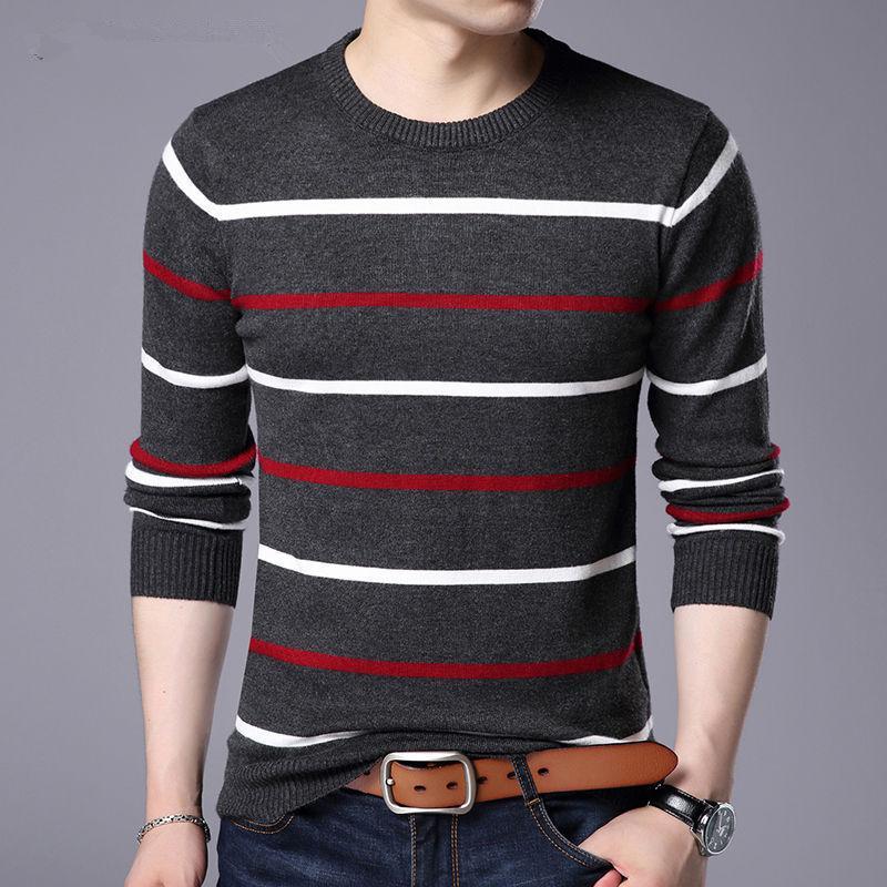 Мужские свитера Пуловер мужской бренд одежда 2021 осень зима шерсть тонкий подходящий свитер повседневная полосатая тяга