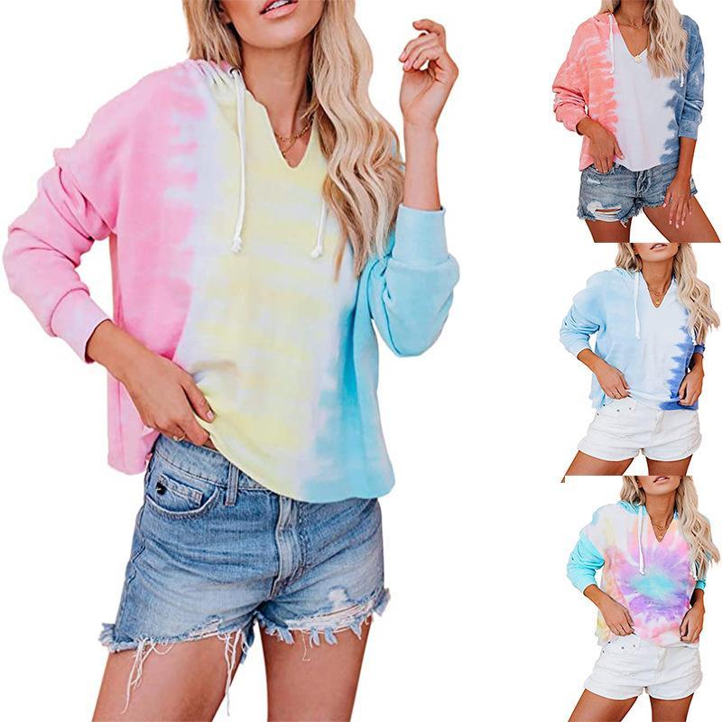 vellón Tie-dye de la muchacha con la manga larga con capucha de ocio deportivo desgaste de la ropa de la aptitud