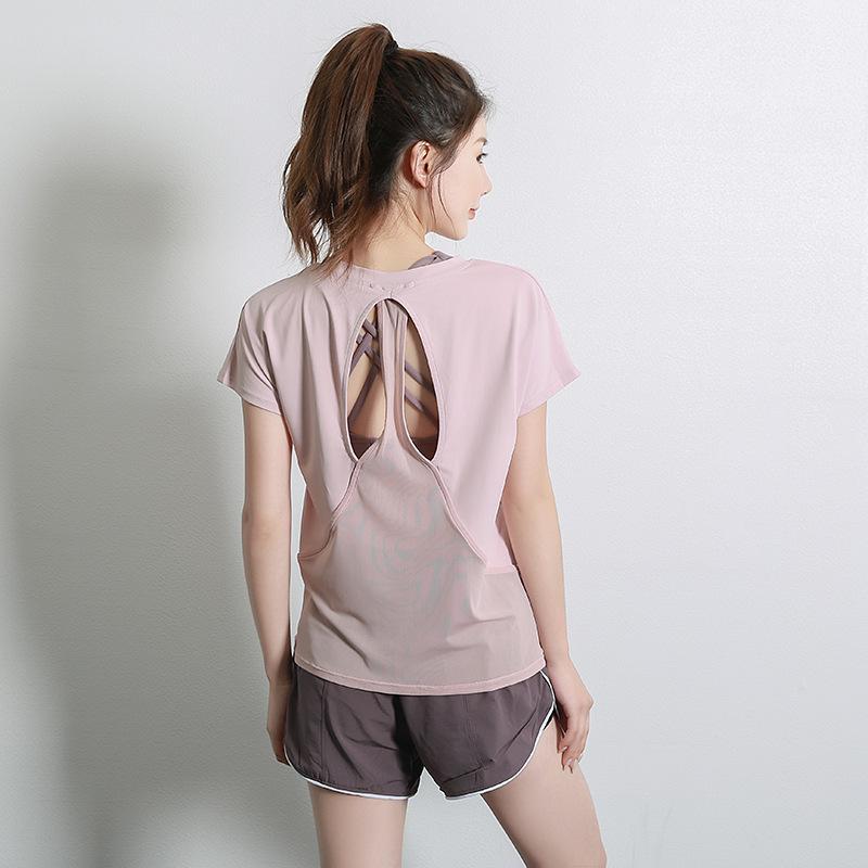 اليوغا تتسابق المرأة الصيف القمصان سليم الرياضة اللياقة البدنية قصيرة الأكمام الأعلى شبكة إمرأة رياضة قميص الرياضة ارتداء 2021 الملابس