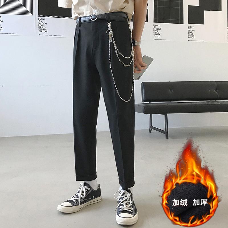 2019 Calças de estilo ocidental dos homens de veludo engrossar Moda terninho Haren Calças Lazer cinza / preto Calça Casual Big Size 28-34 CX200728
