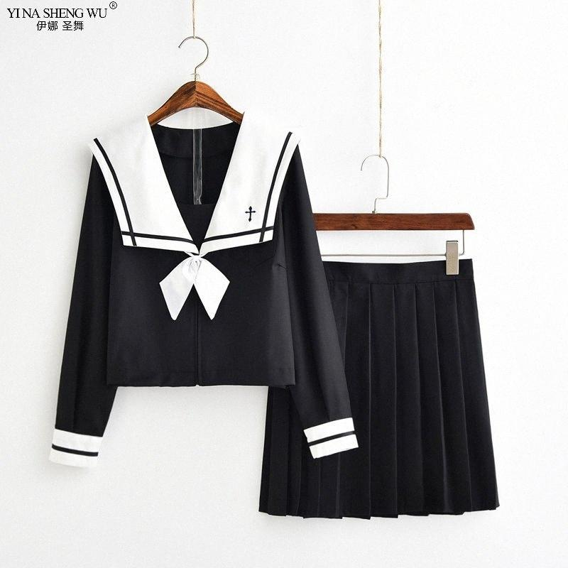 Cross Embroidery School Uniform High School Girl Sailor Suit Cosplay Costume Japanese Anime Uniforms Short Long Sleeve Black oQP5#