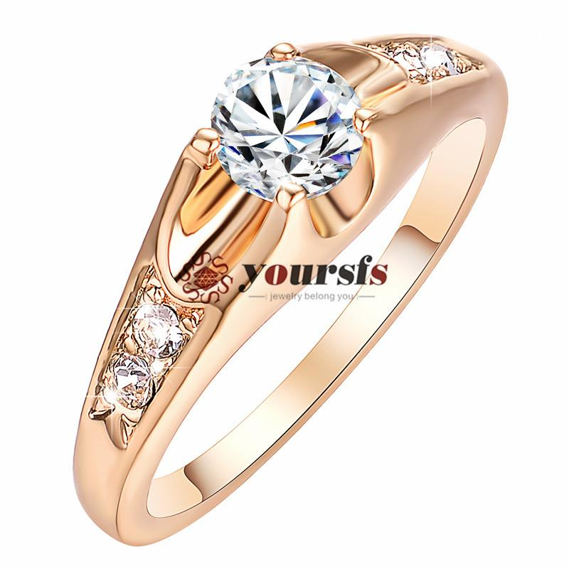 Yoursfs Fashion Exquisite Gift Rings 18 K Rhodium Plated Use Crystal 0.5Ct Simulation of Diamond Engagement Wedding Ring For Women
