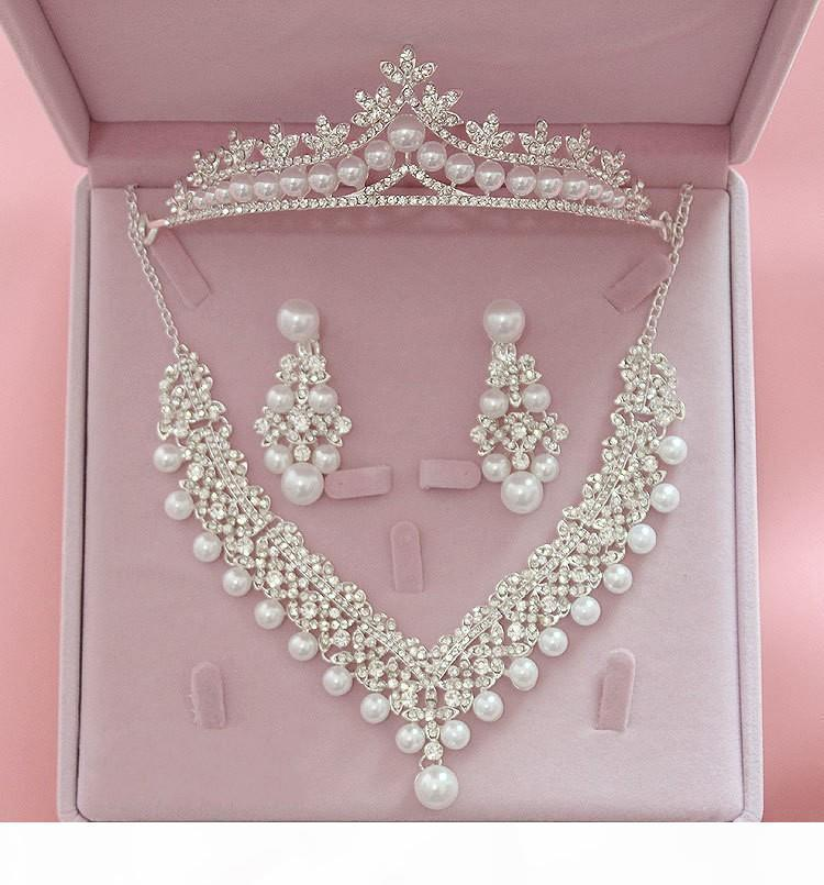 Sistemas de la joyería de la boda I, Tiara Nupcial Accesorios Coronas pendientes Auniquestyle nuevo diseño de plata de la flor de la perla cristalina del collar de la novia