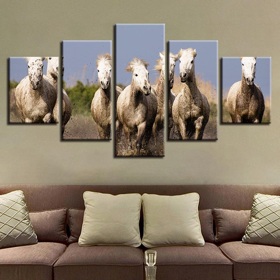 Wall Art Canvas Pictures Modular 5 Pieces Animals Horse Group Scenery Paintings Kitchen Decor Living Room Poster HD Prints Frame