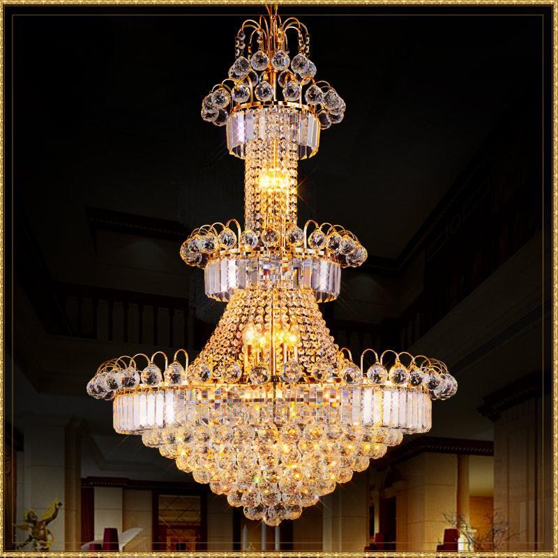 Modern Grande Hotel Silver candelabro de cristal aparelho de iluminação Gold Pendant Lustres Lâmpada de suspensão para sala Restaurante Lobby Staircase