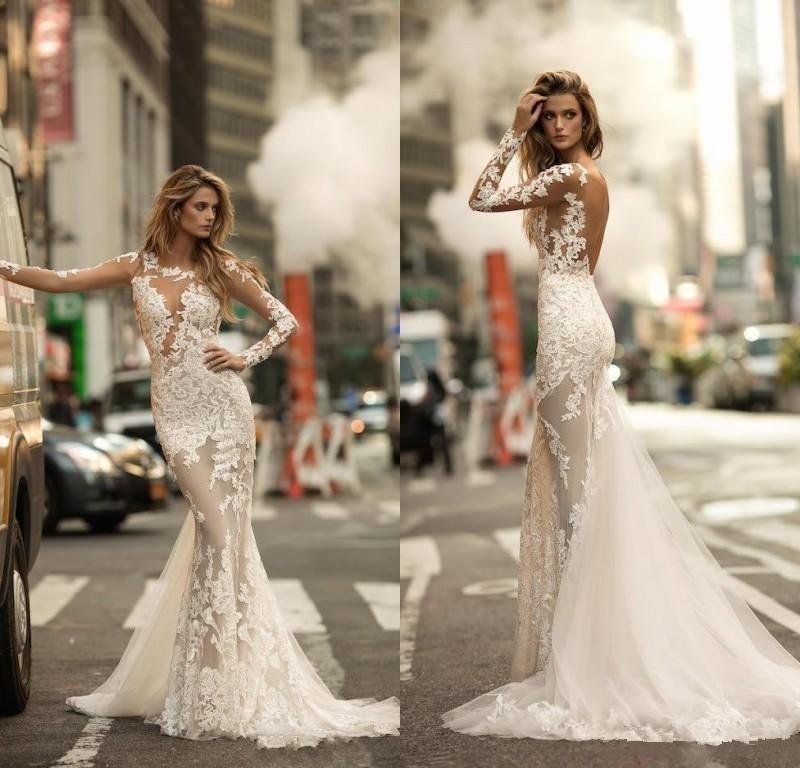 Sexy 2020 Berta sirène robes de mariée Illusion manches longues en dentelle Appliqued Sheer Tulle plage Robes de mariée Custom Made Vestidos De Novia