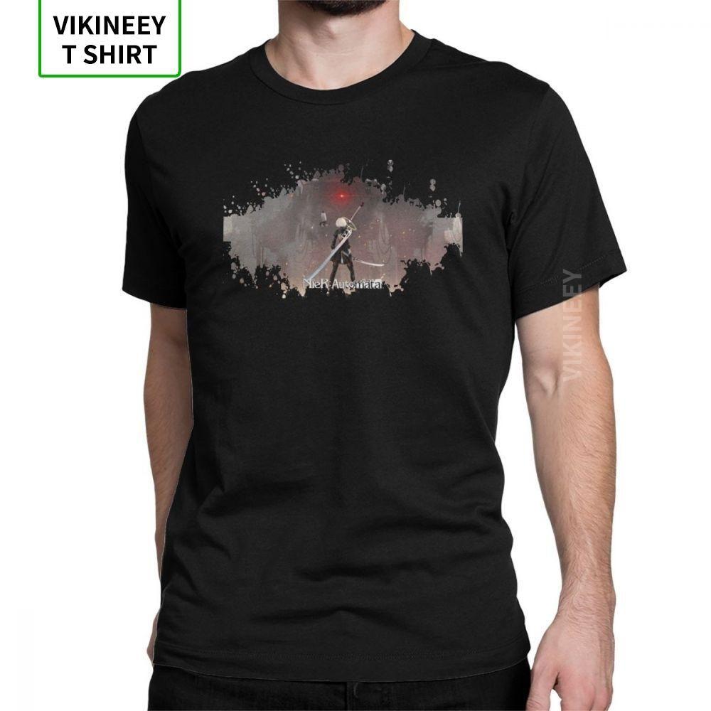 Nier Autómatas camiseta para hombres YoRHa 2B juego de la novedad 100% algodón camisetas de manga corta del cuello de O T regalo de ropa camisa Idea