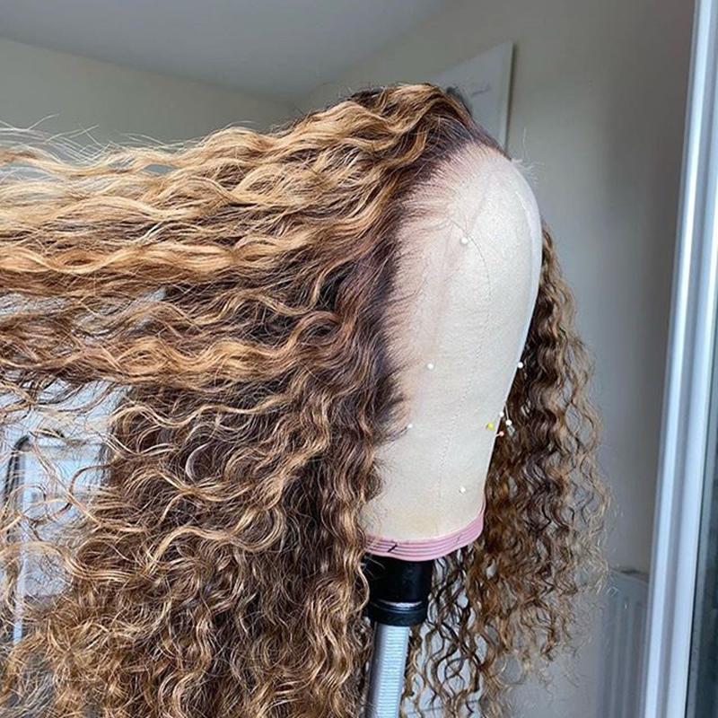 Tam Dantel Brezilyalı Kabarık Kıvırcık Ombre Sarışın 360 Frontal İnsan Saç Peruk Bebek Saçları Ile 13x6 Danteller Kadınlar için Ön Peruk Doğal Saç Çizgisi