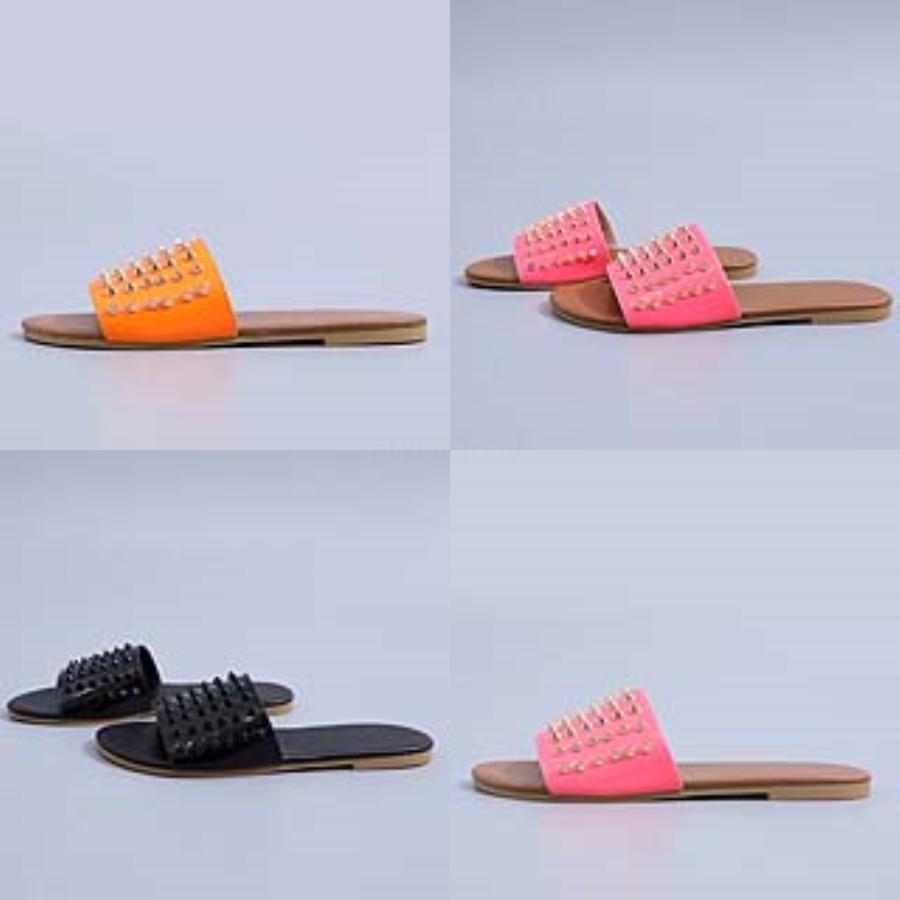 Fasion Dener Frauen Dener Sandalen Rivet Marke Flachschuhe Sandale Mädchen Soes Slides Lady Flip Flops verzierte T06 # 381 # 189