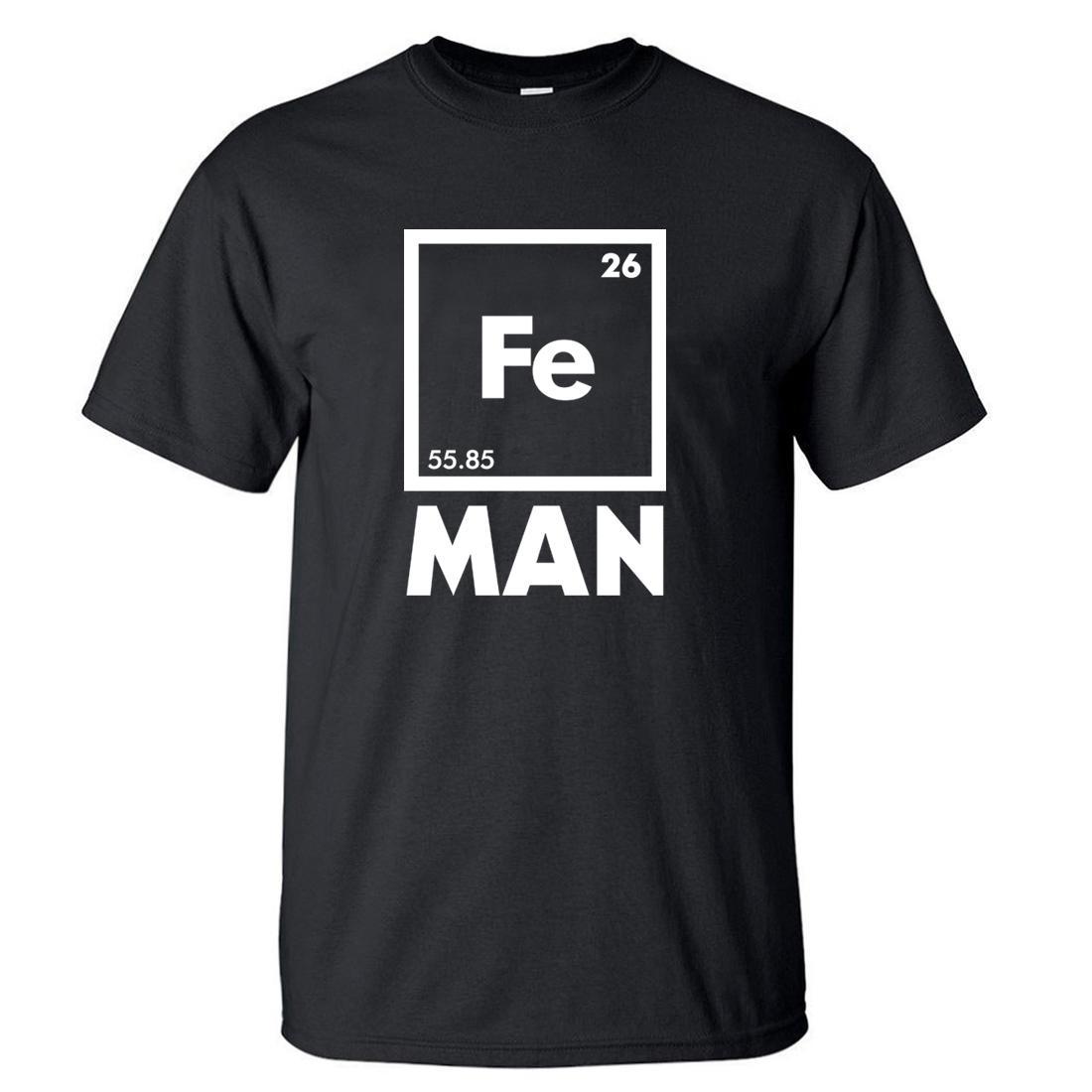 Eisen Wissenschafts-T-Shirt Lustiges Chemie-Hemd Fe Periodic Table T 2020 Sommer-heißen Verkauf-Männer-T-Shirts Baumwolle Kurzarm-T-Shirt