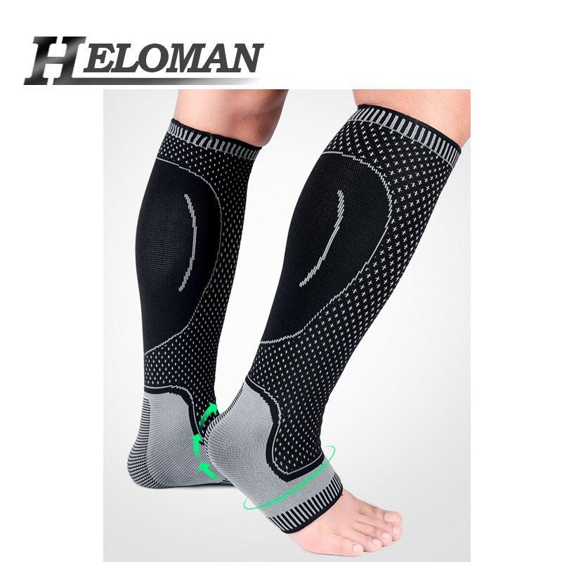 Knit Antiskid Sports Compression Leg Sleeve Basketball Football Calf Support Running Shin Guards Cycling Ankle Socks Legwarmer