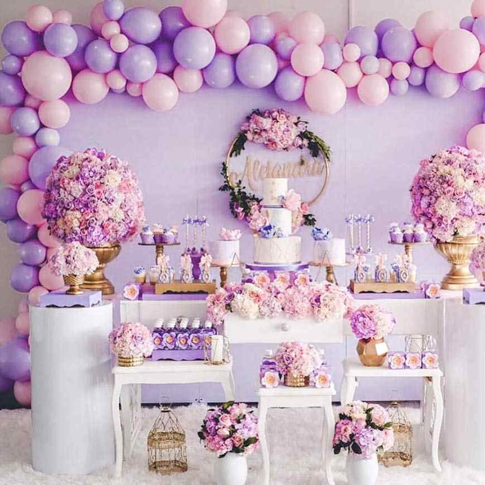 108pcs 5/10/12 Inch Pastel Macaron Pink Purple Gold Silver Metallic Balloons Girl Princess Birthday Party Decoration Supplies T200624