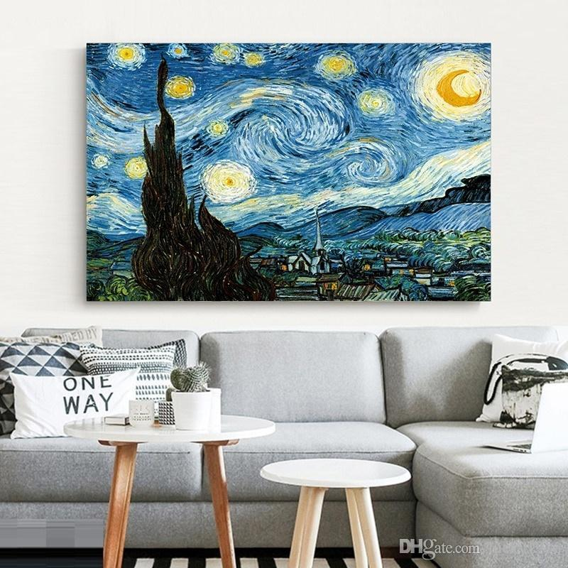 Elegant Poetry Starry Night By Vincent Van Gogh Famous Artist Reproductions Wall Decor Abstract Canvas Oil Painting Picture for Living Room