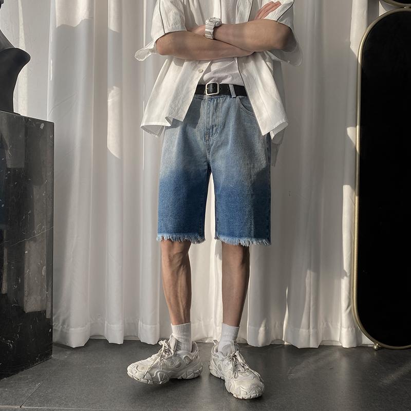 Verano del Mens Tie Dye vaqueros de la manera pantalones cortos Streetwear Hip Hop pantalones cortos de mezclilla pantalones casuales masculinos Sweatshorts