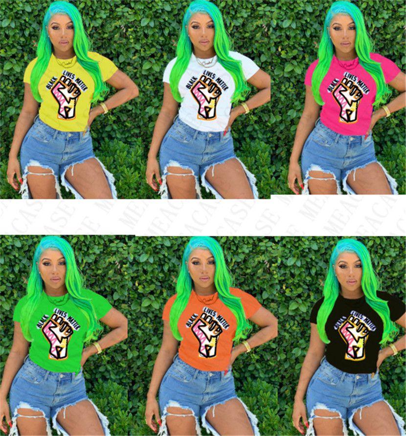 BLACK LIVES MATTER Letter T-shirt Design Cartoon Round Neck Tops Tees Short Sleeves Tshirt Plus Size T Shirt Summer Females Clothing D7805