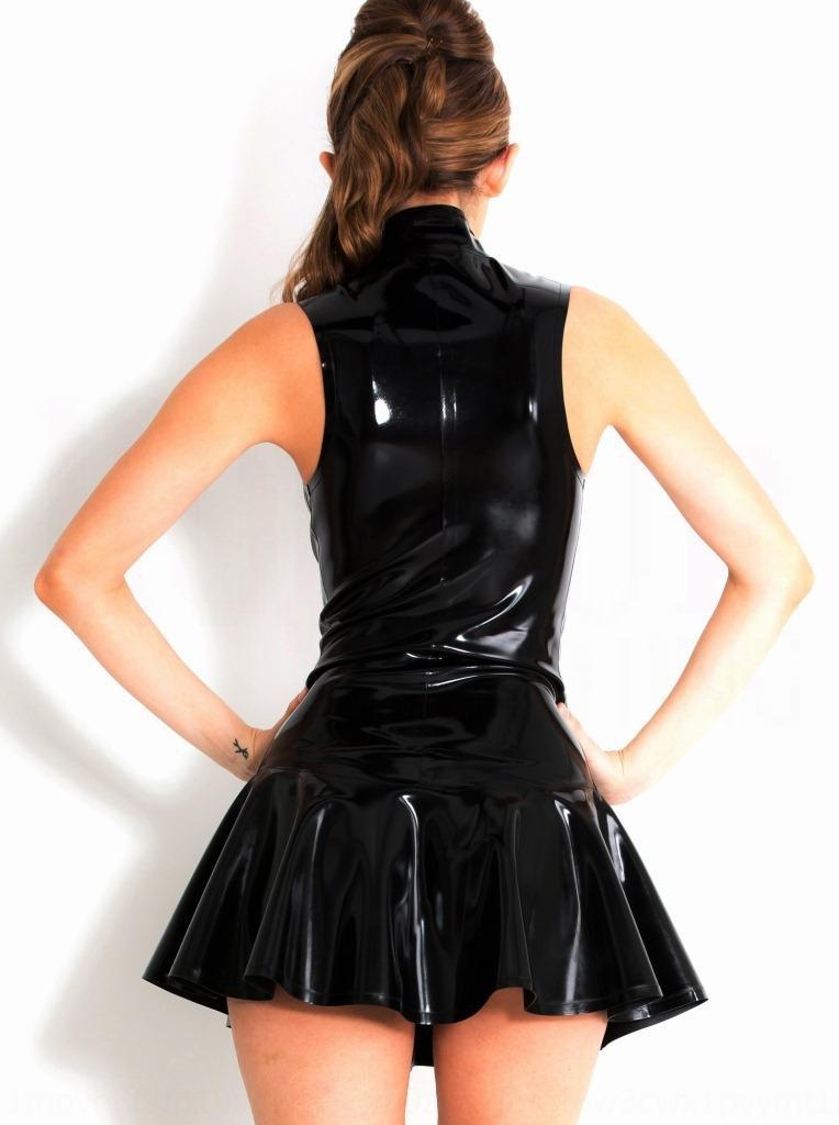 Rote und schwarze S-5XL 2019 neue sexy PVC hohe Kragen schwarzes Kleid PVC-Kleid Bühne Kleidung Leistung