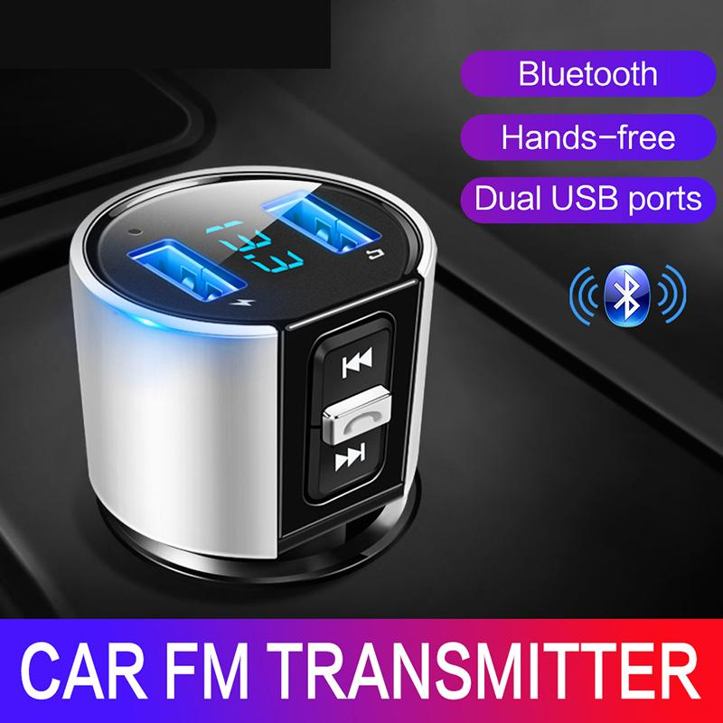 Bluetooth FM Transmissor Adaptador de Rádio AUX Jogador de Áudio Sem Fio Carro Kit Handsfree FM Modulator MP3 Player Dual USB Carregador Hands-free