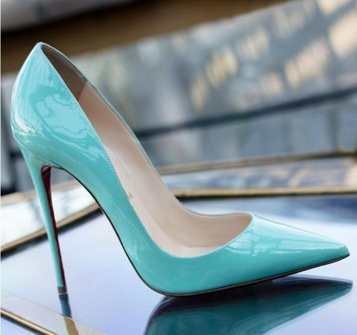 Livraison gratuite nouvelle Alors Kate Styles 8cm 10cm 12cm de talons hauts Rouge Bas Nu couleur cuir véritable point Toe Pompes en caoutchouc Chaussures de mariage